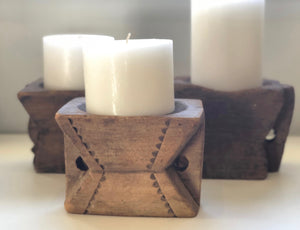 Antique Wooden Candle Holder