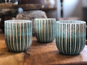 Aqua Cut Glass Votive Glass
