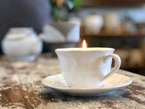 French Teacup & Saucer  Candle