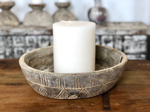 Hand Carved Antique Hand Bowl - Natural