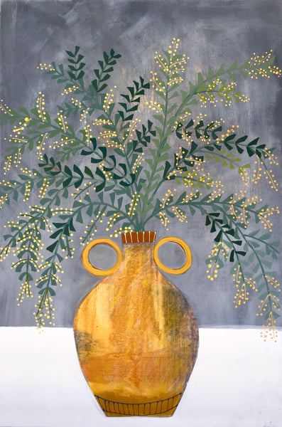 Yellow Vase and acacia Blossom #2