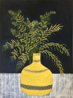 Yellow Vase with Acacia Blossoms