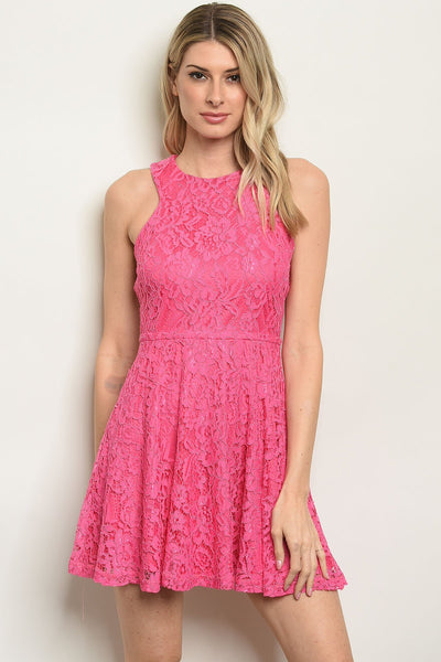 Womens Pink Skater Dress - TrendyLyfeUSA