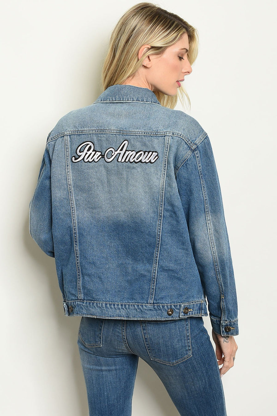 Womens Blue Denim With Patch Jacket - TrendyLyfeUSA