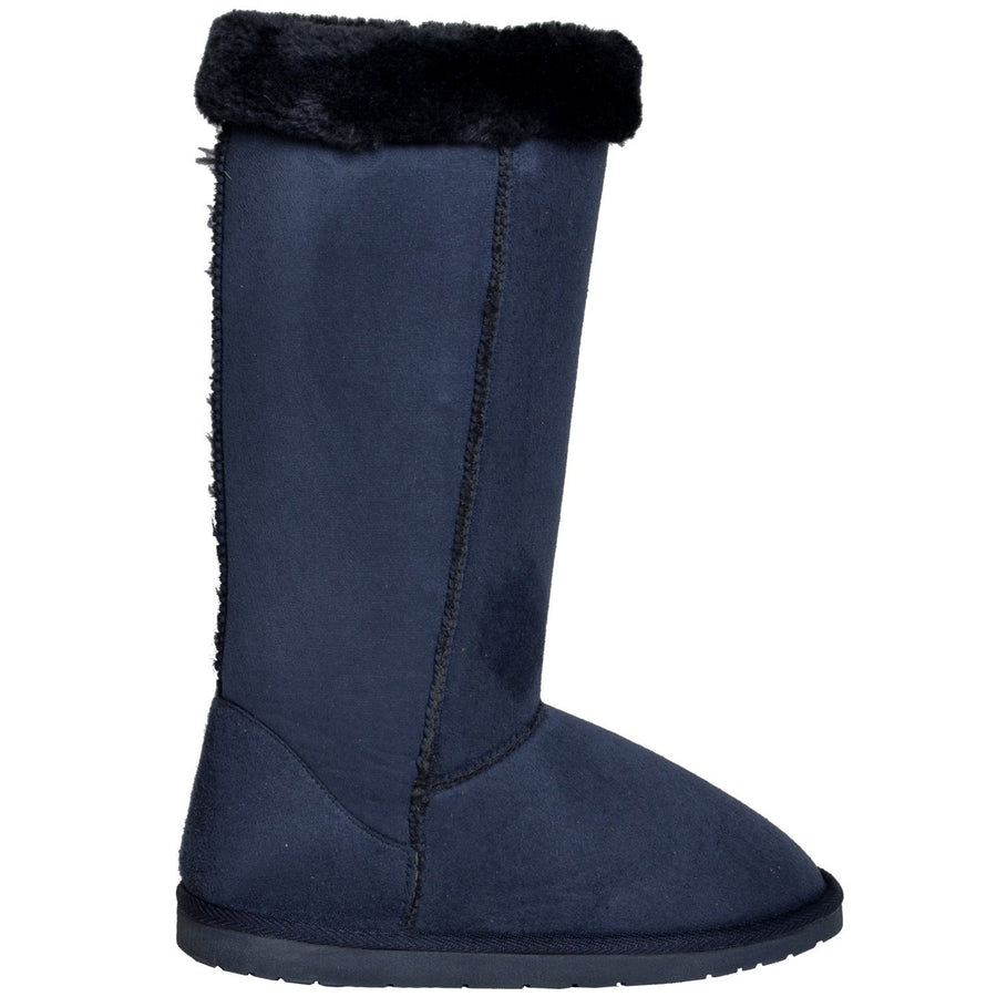 Womens Mid Calf Fur Cuff Blue Boots - TrendyLyfeUSA