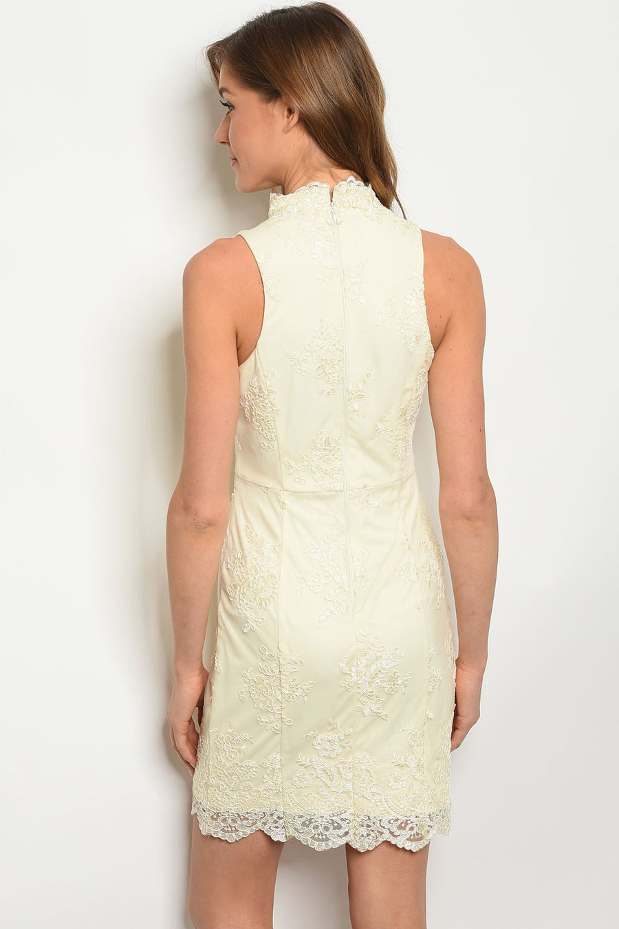Sweetheart Sleeveless Cream Dress - TrendyLyfeUSA