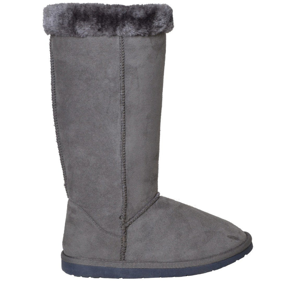 Womens Mid Calf  Fur Cuff Gray Boots - TrendyLyfeUSA
