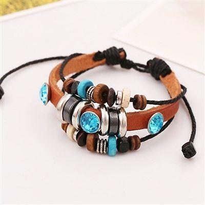Multi Row Adjustable Leatherette Wrap Bracelet - Boho Style - TrendyLyfeUSA