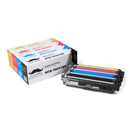 Brother TN-221BK TN-225 C/M/Y Compatible Toner Cartridge Combo - Moustache® - 4 color combo