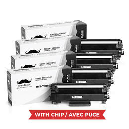 Brother TN760 Compatible Black Toner Cartridge High Yield - With Chip - Moustache® - 4/Pack