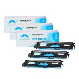 Brother TN210C Compatible Cyan Toner Cartridge - Moustache® - 3/Pack