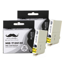 Epson 126 T126120 Compatible Black Ink Cartridge High Yield - Moustache® - 2/Pack