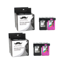 Remanufactured HP 65XL Black and Color Ink Cartridge 2 Combos - Moustache® - 4PK