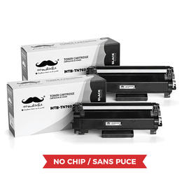Brother TN760 Compatible Black Toner Cartridge High Yield - No Chip - Moustache® - 2/Pack