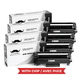 Brother TN730 Compatible Black Toner Cartridge - With Chip - Moustache® - 4/Pack