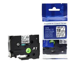 "Brother TZe-141 Label Tape, 18mm (0.7""), Black on Clear, Compatible"