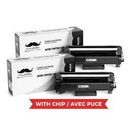Brother TN730 Compatible Black Toner Cartridge - With Chip - Moustache® - 2/Pack
