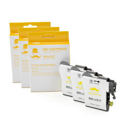 Brother LC61Y Compatible Yellow Ink Cartridge - Moustache® - 3/Pack