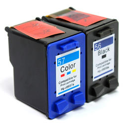 Remanufactured HP 56 HP 57 Black and Color Ink Cartridge Combo High Yield
