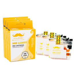 Brother LC203Y Compatible Yellow Ink Cartridge High Yield - Moustache® - 3/Pack