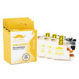 Brother LC103Y Compatible Yellow Ink Cartridge High Yield - Moustache® - 3/Pack