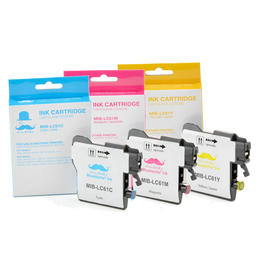 Brother LC61 3PKS Compatible Color Ink Cartridge Combo - Moustache®