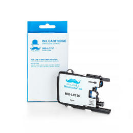 Brother LC75C Compatible Cyan Ink Cartridge High Yield - Moustache® - 1/Pack