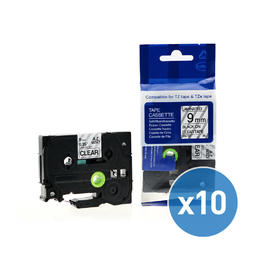 "Brother TZe-121 Label Tape, 9mm (0.35""), Black on Clear, Compatible - 10/Pack"
