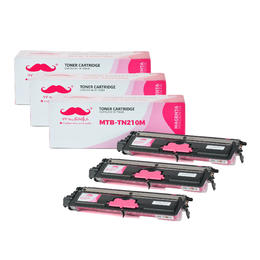 Brother TN210M Compatible Magenta Toner Cartridge - Moustache® - 3/Pack