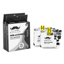 Brother LC203BK Compatible Black Ink Cartridge High Yield - Moustache® - 2/Pack