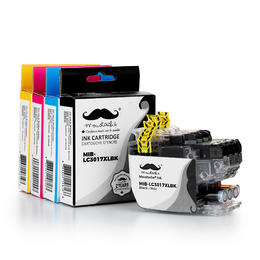 Brother LC3017 Compatible Ink Cartridge Combo High Yield BK/C/M/Y - Moustache®