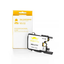 Brother LC75Y Compatible Yellow Ink Cartridge High Yield - Moustache® - 1/Pack