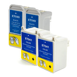 Epson T040120 T041020 Compatible Ink Cartridge Combo 2 Black + 2 Color - 4/Pack
