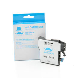 Brother LC61C Compatible Cyan Ink Cartridge - Moustache® - 1/Pack
