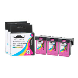 Remanufactured HP 63XL F6U63AN Tri-Color Ink Cartridge High Yield - Moustache® - 3/Pack