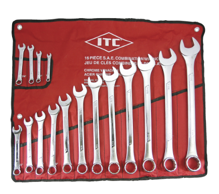 ITC COMBINATION WRENCH SET - SAE - 16PC