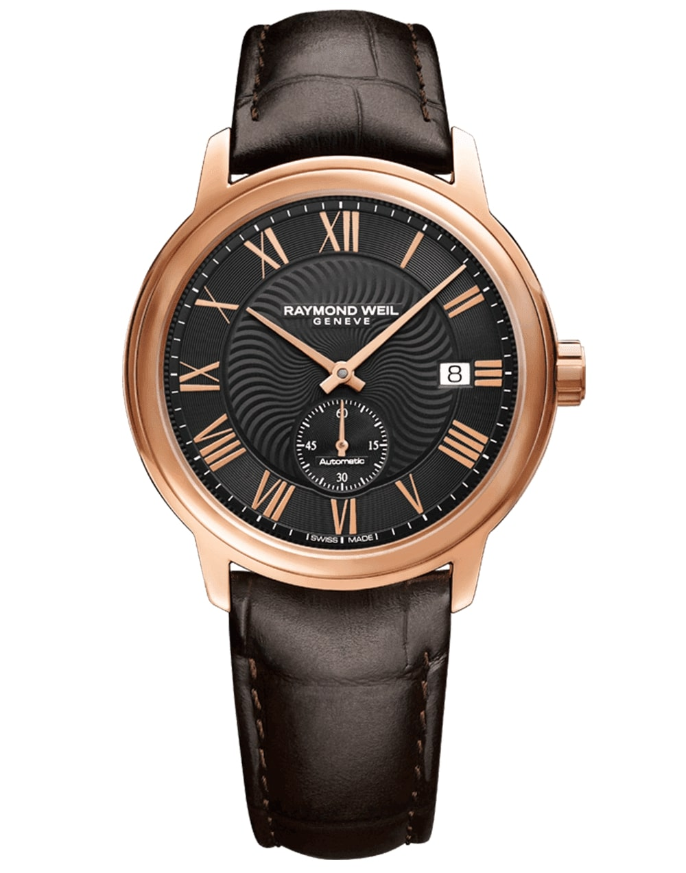 Men's Rose Gold Automatic Leather Raymond Weil Watch