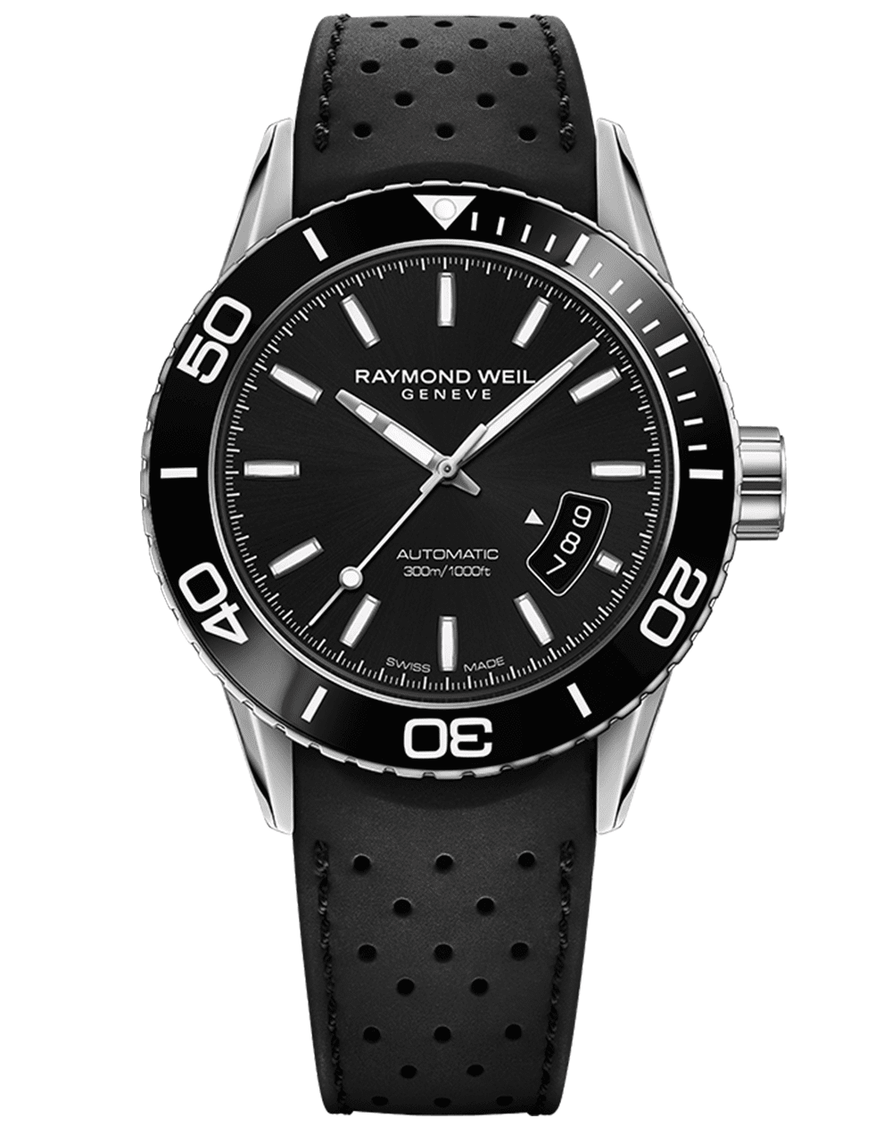 Men's Steel Black Rubber Strap Diver Raymond Weil Watch
