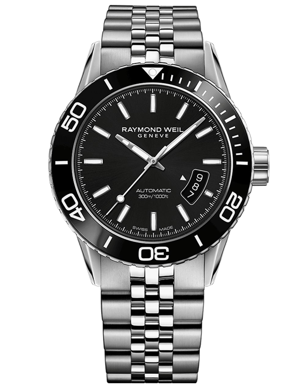 Men's Automatic Black Steel Diver Raymond Weil Watch