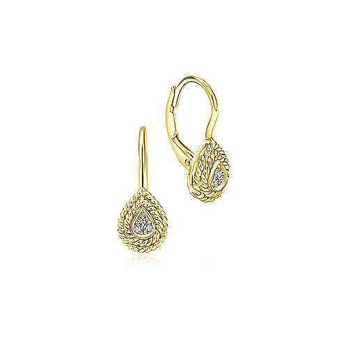 14K Yellow Gold Teardrop Diamond Drop Earrings