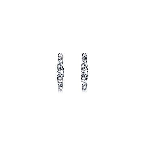 14K White Gold 13mm Classic Diamond Huggie Earrings