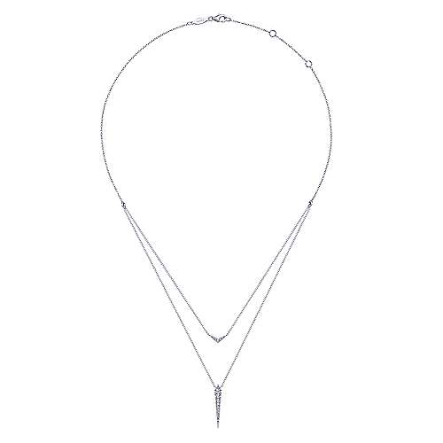 14k White Gold Delicate Layered Pave Diamond Pendant Necklace
