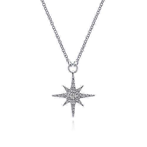 14K White Gold Diamond Starburst Pendant Necklace