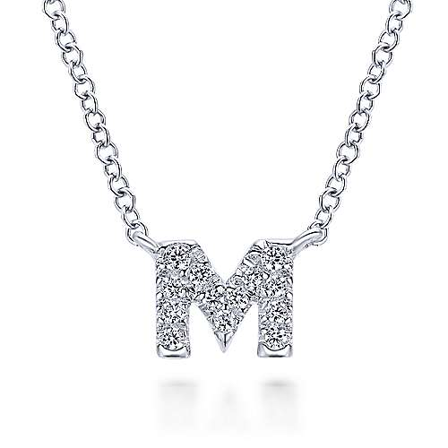 14K White Gold Letter M Necklace