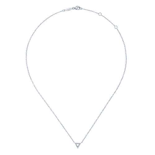 14K White Gold Open Diamond Triangle Pendant Necklace