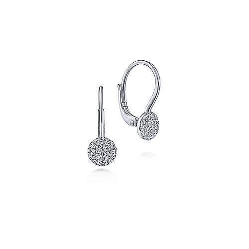 14K White Gold Round Pave Diamond Drop Earrings