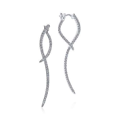 14K White Gold Sculptural Diamond Drop Earrings