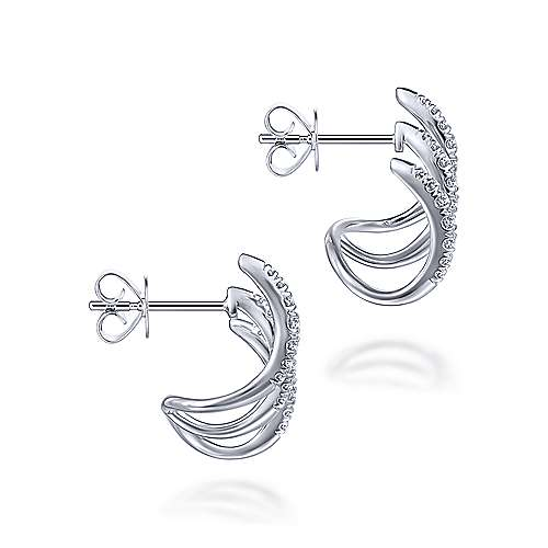 14K White Gold Three Bar Diamond Stud Earrings