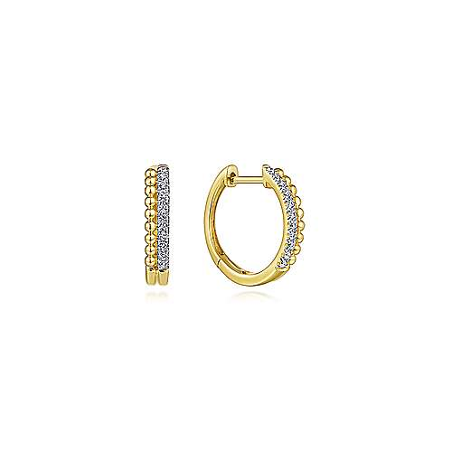 14K Yellow Gold Beaded Pave 10mm Diamond Huggie Earrings