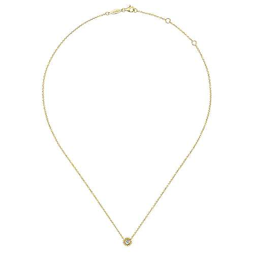 14K Yellow Gold Beaded Round Bezel Set Diamond Pendant Necklace